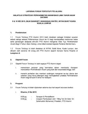 2013 Laporan Forum Tertutup Alumni PTD
