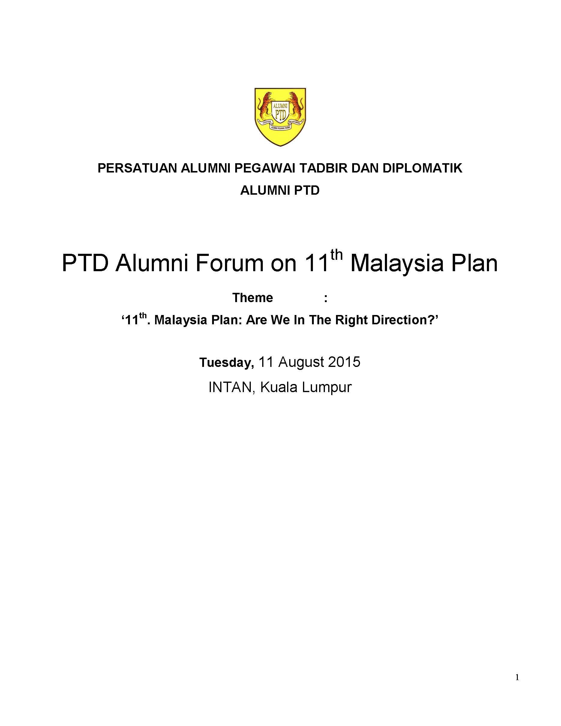 2015 Laporan Forum Rancangan Malaysia Ke-11 PTD Alumni